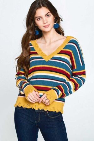 Multi colored Variegated Striped Knit Sweater